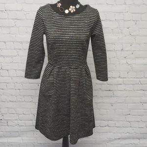 MERONA long sleeve fit&flare gray/black dress